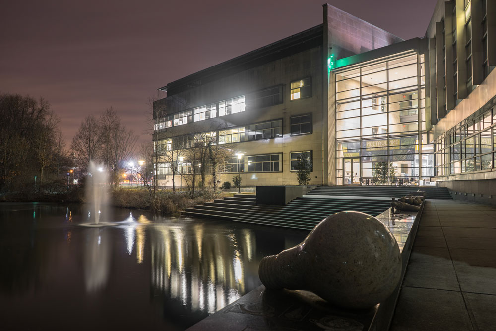 A night photo of the lake behind Engineering Hall